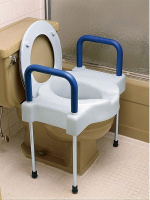 Assento sanitário elevado com largura extra e pernas de alumínio