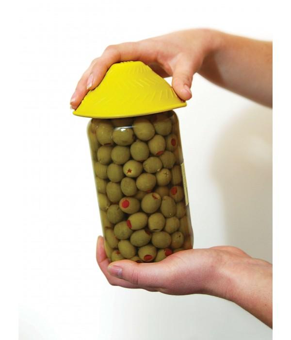 Abridor de potes em silicone - amarelo